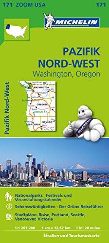 Michelin Pazifik Nord-West, Washington, Oregon: Straßen- und Tourismuskarte 1:1.267.200 (MICHELIN Zoomkarten)