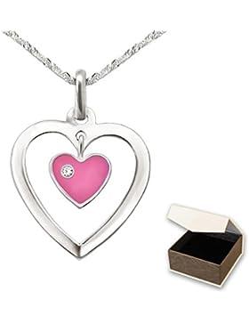 CLEVER SCHMUCK-SET Silberner Anhänger Herz 17 mm offen mit Einhänger Mini Herz rosa und Stein weiß mit Kette Singapur...