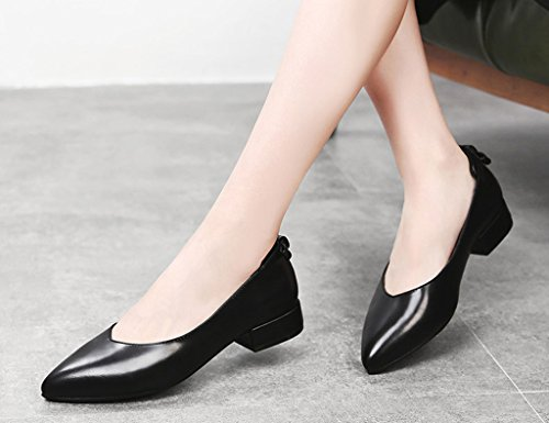 HWF Scarpe donna Spring Shallow Mouth Single Pointed Black Leather Shoes Workplace Scarpe da donna Casual Scarpe basse femminili ( Colore : Nero , dimensioni : 36 ) Nero