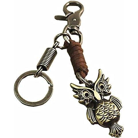 Retro Llaveros, liangery Creative Cool llavero clave cadena de calavera de piel de vaca, Doble Eagles Llaveros con único 5desmontable clave anillos, OWL
