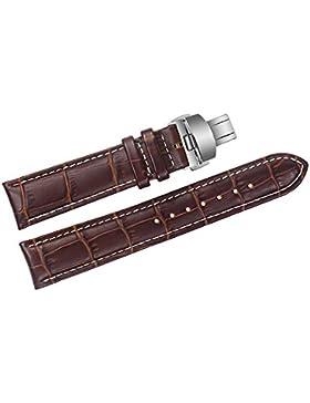 22mm braun Luxus Ersatz Lederarmbändern / Bands handgefertigt mit weißen Nähten für Schweizer Top-Grade-Marken