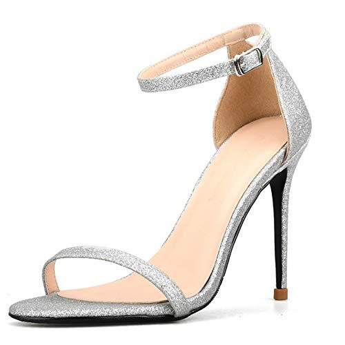 Mode Knöchelriemen Sandalen für Frauen Stiletto 8cm hochhackige Pumps Glitter oberes Einzelband offene Zehe Kleid Sandale (Color : Silber, Size : 39 EU) ()