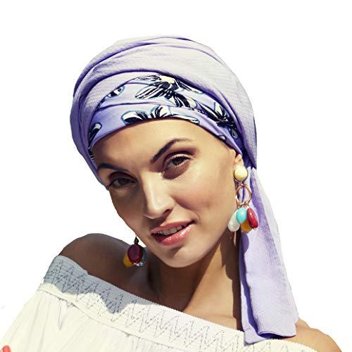 Boho Spirit Headwear Espectacular Turbante Sapphire con su Banda Amovible y Ajustable - Estampado Lavanda con Flores