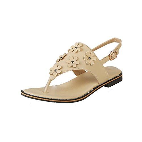 YE Damen Flache Knöchelriemchen Sandalen Zehentrenner mit Blumen und Schnalle Bequem Süße Schuhe ykqCb