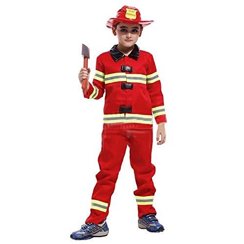 LOLANTA Feuerwehrmann-Kostüm für Jungen, Rot, Uniform Feuerwehr-Kostüm, Jacke, Hose und Hut