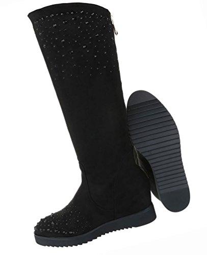 Damen Schuhe Stiefel Mit Strass Besetzte Keil Wedges Grau Schwarz