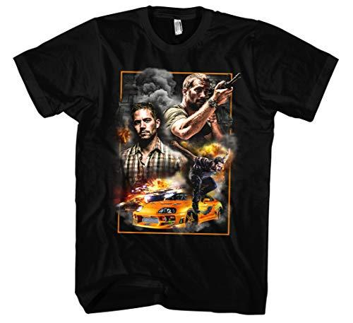 Paul Walker Männer und Herren T-Shirt | Retro Vintage Kult (3XL, Schwarz Druck:Bunt)