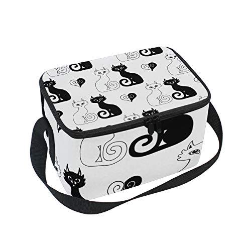 pranzo giorno e notte coppia gatti cuori di raffreddamento per picnic tracolla Lunchbox