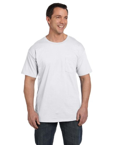 Hanes Men`s Beefy-T Adult Pocket T-Shirt White
