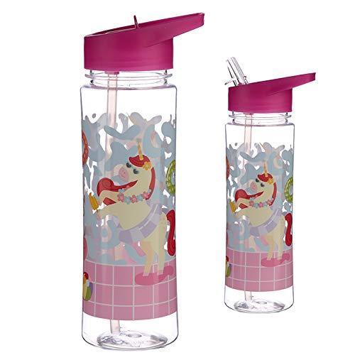 pucaktor 450ml Botella de Agua Infantil con Pajita - Nuevo Unicornio 1 Unidad