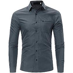Hombre Camisa,ZODOF Camiseta para Hombre Casual Manga Larga Negocio Ajustado Negocio Botón Formal Slim Fit Blusa Tops Camisa de Hombre