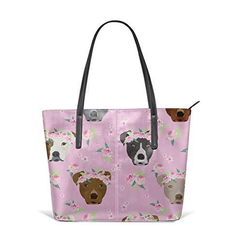 Damen Schultertasche aus weichem Leder Pitbull Flower Crown Dog Flower Dogs Floral Pitbulls Pitbull Light Fashion Handtaschen Satchel Purse