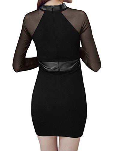 sourcingmap Femme Col Mork Maille empiècements en simili cuir Mini Robe Bodycon Noir
