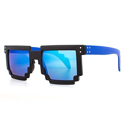 Distressed Pixel Sonnenbrille im Retro Stil 70er 80er (blau-rahmen-blau-verspiegelt) (Blaue Pixel Sonnenbrille)
