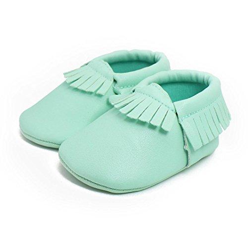 Hunpta Neue Baby jungen Mädchen Lauflernschuhe Baby Kinder Tassel weiche Sohle Leder Schuhe Baby Boy Girl kinderschuhe (13, Rosa) Grün