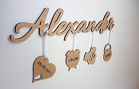 3D enfants Inscription en bois véritable–votre nom au choix Inscription que dans différentes tailles–+ 4Pendentif avec individuels données de l