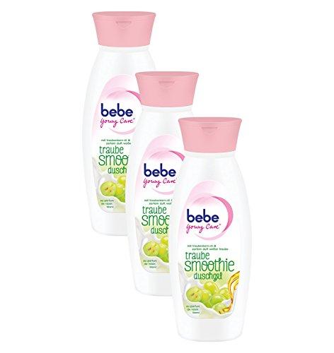Bebe Young Care Smoothie Traube Duschgel, Cremige Pflegedusche mit Traubenkernöl für alle Hauttypen, 3er Pack (3 x 250 ml)