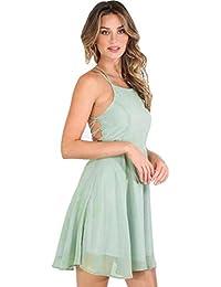 Ouneed Sexy mujeres vendaje sin mangas de espalda mini vestido de fiesta