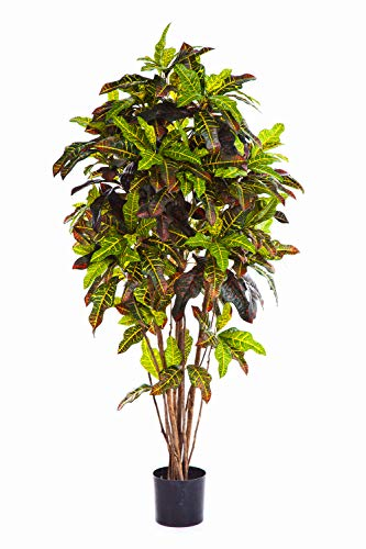 artplants Set 'Kunstpflanze Kroton + Gratis UV Schutz Spray' – Künstlicher Kroton BEQA, Echtstämme, schwer brennbar, bunt, 150 cm