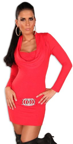 Koucla - Robe - Crayon - Uni - Col V - Manches longues - Femme Rouge