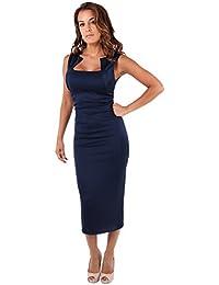 KRISP® Damen Stretch Kleid Etuikleid Bleistiftkleid Trägerkleid Große Größen 36 - 48