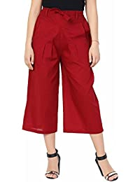 Red 100% Cotton Culottes Pants For Women - Solid Colour Culottes For Girls - Wide Leg Comfortable Culottes Capri...