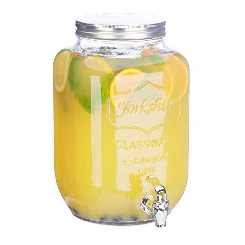 Relaxdays dispenser per bevande 8 l, alla spina, con rubinetto, vintage, hxlxp: 32 x 20 x 20 cm