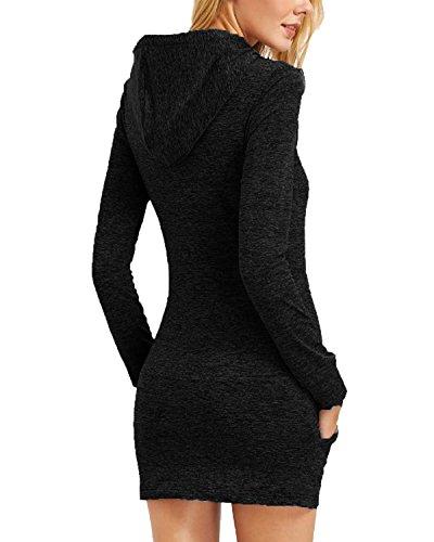 Kidsform Femme Long Sweat Mini Robe à Manche Longue Avec Capuche Décontracté Hoodie Pullover Noir
