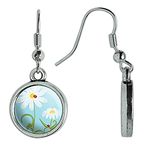 Novelty Dangling Drop Charm Earrings Ladybug Ladybugs - Sweet Little on Flowers