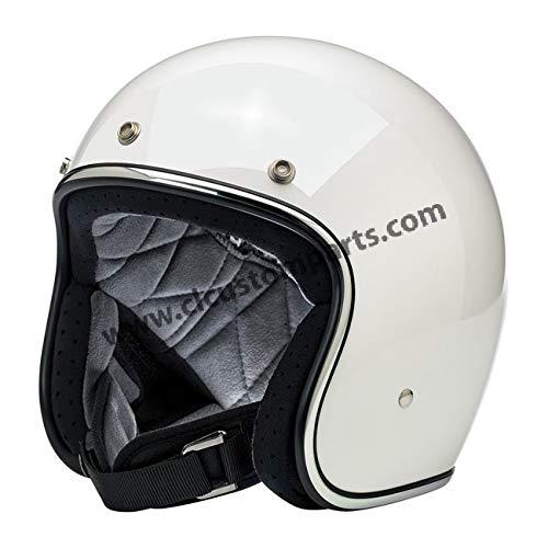 Casco Jet Aperto Bonanza Biltwell Gloss White Bianco Lucido Approvato DOT Helmet Biker Look Stile Universale x Genere Custom Vintage Retrò Anni 70 Off-Road Street Taglia M