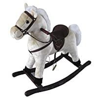 The Rocking Horse Co. - White Rocking Horse - Plush Finish - Complete with Sounds - On solid wood rockers