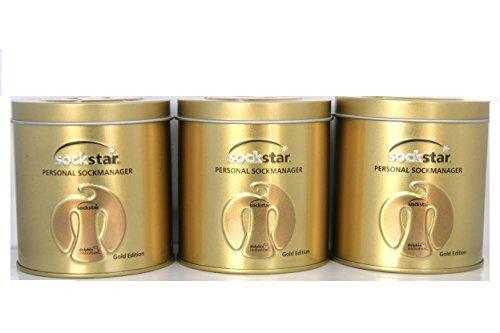 Super Angebot!! Super offer!! 3 Familie Packungen, 60 Sockstar, 4 Farben in edle Luxus Präsentdose aus Metall - Sockenklammern - Sockenclips. Preis für 3 Packungen, 60 Clips, 4 Farben