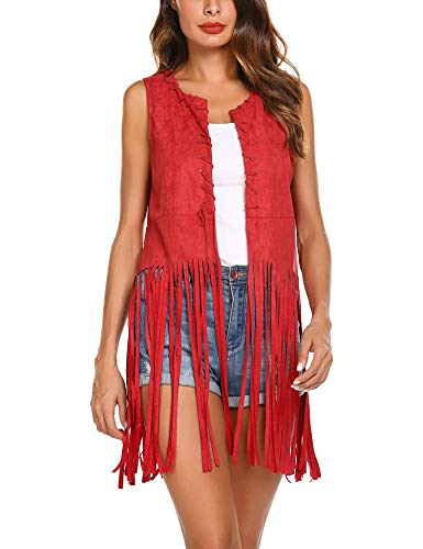 MAXMODA Damen West Fransen Fransenweste Bolero Kurzarm Bluse top Outdoor Cardigan, Rot, Gr.- S