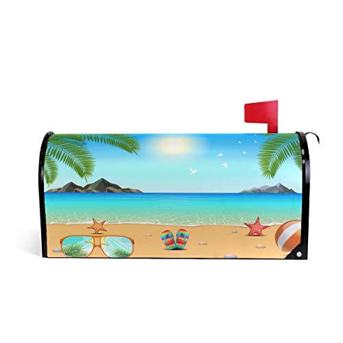 Wamika Seestern-Sonnenbrille Briefkasten Abdeckung, wetterfest, magnetisch, verblasst/wetterfest, Motiv: Seestern-Motiv, 64,7 x 52,8 cm