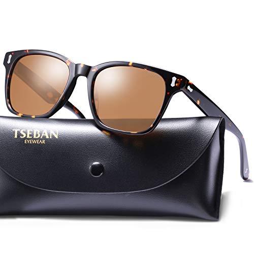 TSEBAN Retro Polarisierte Herren Sonnenbrille 100% UV400 Schutz Fahren Outdoor Brille Acetat Rahmen (Rahmen: Schildpatt; Linsen: Braun)