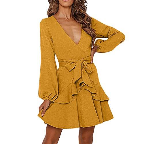 Floweworld Damen Langarm Kleider V-Ausschnitt Schulterfrei Rüschen Hohe Taille Kleider Elegante Strandkleider Minikleid Partykleider -