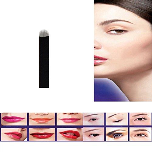 LHWY 10PCs U forme 16 aiguilles Microblading sourcil tatouage maquillage Permanent
