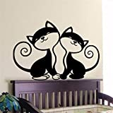 autocollant mural stickers muraux 3d Deux autocollants mignons d'art de mur de chats Deux différents pour le salon de chambre à coucher de garçons