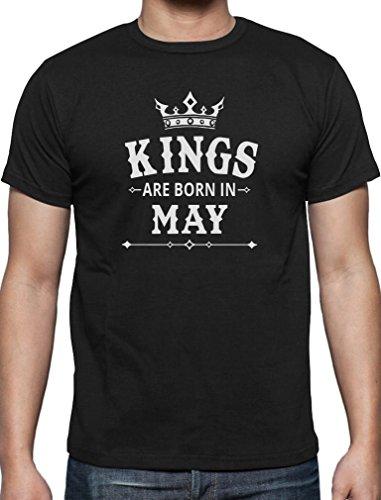 Geschenk T-Shirt für den Mann - Kings are born in Mai T-Shirt Schwarz