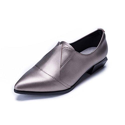 Damen Slipper Slip On Spitz Zehen Britische Stil Eckig Sohle Lederschuhe Niedrige Tragen Atmungsaktiv Schuhe RI