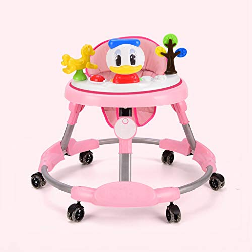 LFY Andador Carrito para Caminante para bebés, antivuelco Plegable, bebé Que aprende a Caminar el Andador para niños, Rosa