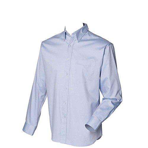 Henbury Mens Long Sleeved Oxford shirt Light Blue
