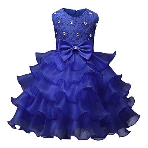 Longra Abito in Pizzo per Bambino Diamante Vestito Lungo Compleanno Ballerina Abiti Ruffles Abito da Sposa Tutu Vestito della Principessa Festa Cosplay 3 Mesi -6 Anni