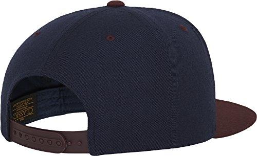 Yupoong Flexfit Unisex Kappe Classic Snapback 2-Tone, zweifarbige blanko Cap mit geradem Schirm, One Size Einheitsgröße für Männer und Frauen, Farbe nvy/maroon - 5