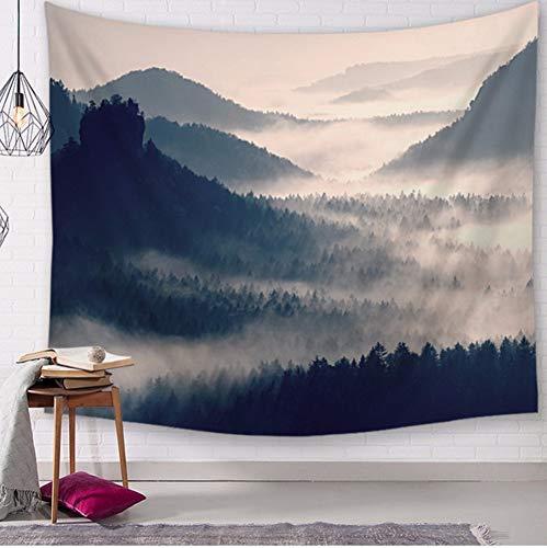Qhrdp Schöne Nebel Nebel Wald Wandteppich Nordischen Berg Wandbehang Tenture Teppich Dekorative Landschaftlich Wandbild Herbst Tuch Tapiz, 150X200 cm Herbst Nebel