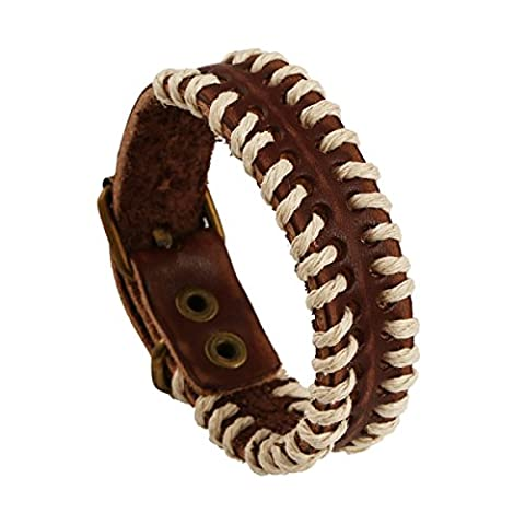 Circle Leather Bracelet Wristband Unisex Real Leather Wristbands Hand Woven Bracelet Tribal Braided Rope Belt Buckle Brown Color