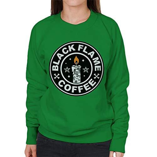 Cloud City 7 90s Hocus Pocus Black Flame Candle Coffee Logo Women's Sweatshirt