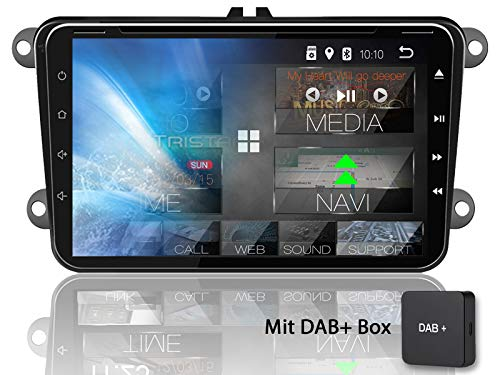Tristan Auron BT2D7023VW Digitalradio + DAB+ Box für VW Skoda Seat, Android 8.1, 7'' Touchscreen Bildschirm, GPS Navi, Bluetooth Freisprecheinrichtung, Quad Core, USB/SD, OBD 2, 2 DIN