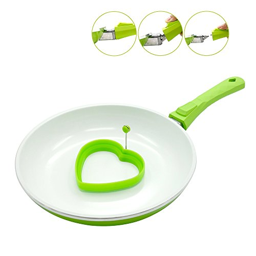 Non-Stick Frying Pan Ceramic, Tectri Anti Scratch 26cm with Removable Handle and Silicone Egg Ring, Suitable for Induction, Dishwasher-Safe - White Green