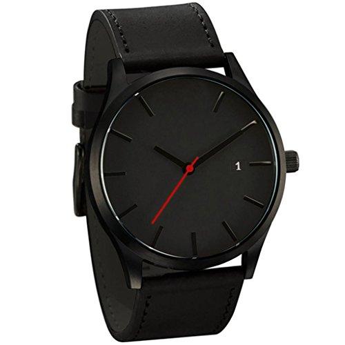 cinnamou Herrenuhren - Luxus Business Quarz Uhr - Leahter Analog Quarzuhr Männer Business Kleid Armbanduhr Herren Wasserdichte Sportuhr (A)